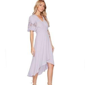 ASTR the label lavender wrap midi dress